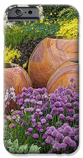 Garden Scene Photographs iPhone Cases - Overflowing Joy In The Flower Graden iPhone Case by Gill Billington
