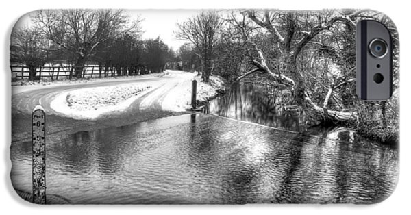 River Flooding iPhone Cases - Overflowing River in Black and White iPhone Case by Gill Billington