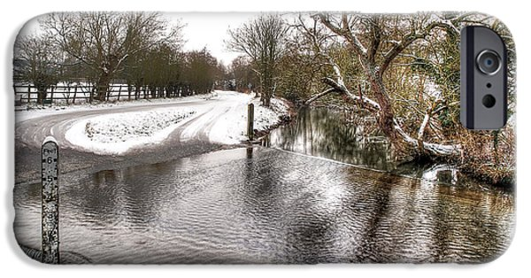 River Flooding iPhone Cases - Overflowing River in Winter iPhone Case by Gill Billington