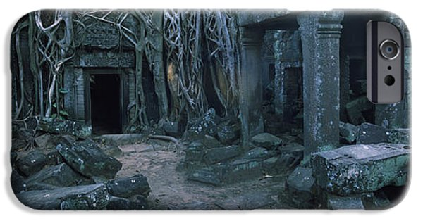 Buddhism iPhone Cases - Overgrown Tree Roots On Ruins iPhone Case by Panoramic Images