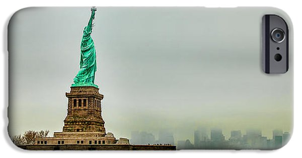Financial District iPhone Cases - Overlooking Liberty iPhone Case by Az Jackson