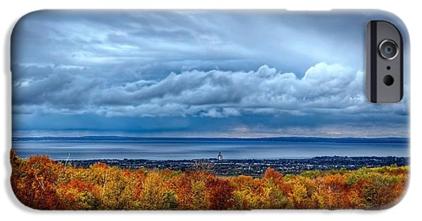 Rainy Day iPhone Cases - Overlooking the bay iPhone Case by Jeff S PhotoArt