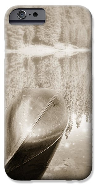 Catherine White Digital Art iPhone Cases - Overturned Canoe iPhone Case by Catherine Noel