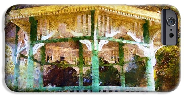 Bandstand iPhone Cases - Owego Gazebo Courthouse Square Park iPhone Case by Janine Riley