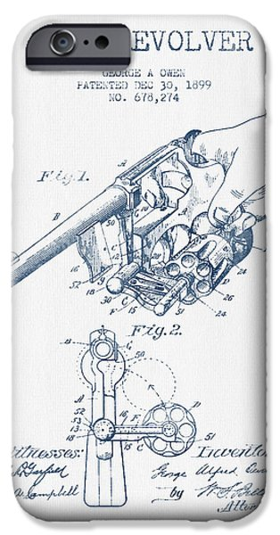 Weapon iPhone Cases - Owen revolver Patent Drawing from 1899 -  Blue Ink iPhone Case by Aged Pixel