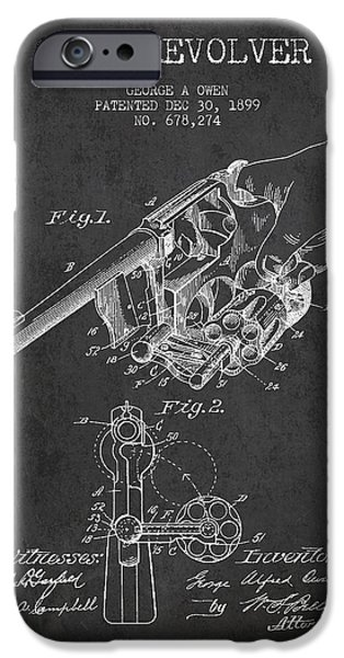 Weapon iPhone Cases - Owen revolver Patent Drawing from 1899- Dark iPhone Case by Aged Pixel