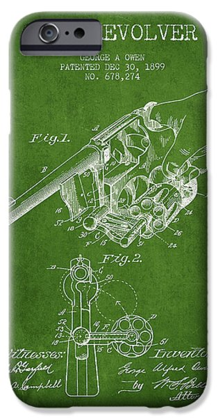 Weapon iPhone Cases - Owen revolver Patent Drawing from 1899- Green iPhone Case by Aged Pixel