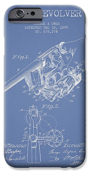 Weapon iPhone Cases - Owen revolver Patent Drawing from 1899- Light Blue iPhone Case by Aged Pixel