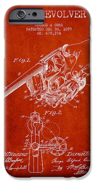 Weapon iPhone Cases - Owen revolver Patent Drawing from 1899- Red iPhone Case by Aged Pixel