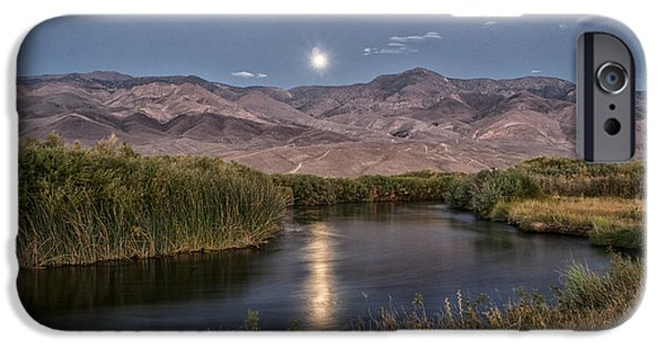 River iPhone Cases - Owens River Moonrise iPhone Case by Cat Connor