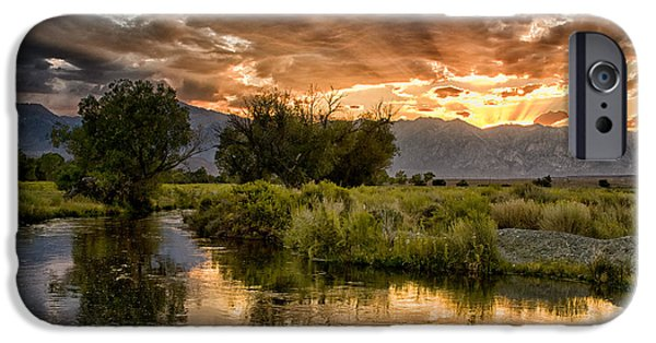 Sunset iPhone Cases - Owens River Sunset iPhone Case by Cat Connor