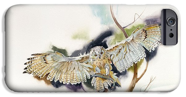 John Stewart iPhone Cases - Owl Catches Trout iPhone Case by John Norman Stewart