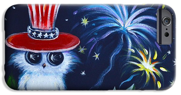 4th July Paintings iPhone Cases - Owl Celebrate iPhone Case by Agata Lindquist