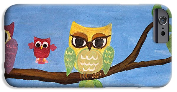 Baby Bird iPhone Cases - Owl Family On A Tree iPhone Case by M Bleichner
