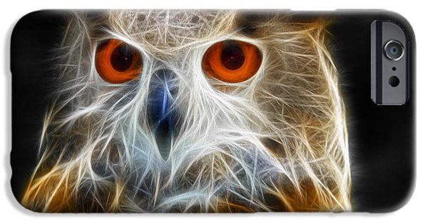 Electrical iPhone Cases - Owl fractal art iPhone Case by Matthias Hauser