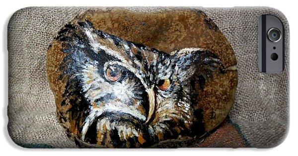 Bird Reliefs iPhone Cases - Owl iPhone Case by Ildiko Decsei