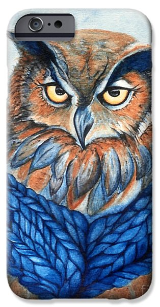 Yellow Beak Paintings iPhone Cases - Owl in a cowl iPhone Case by Janine Riley