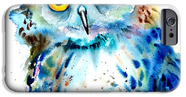 Mixed Media Drawings iPhone Cases - Owl iPhone Case by Isabel Salvador