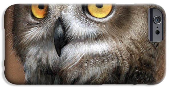 Wild Animals Pastels iPhone Cases - Owl iPhone Case by John F Willis