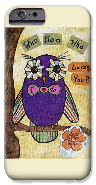 Child iPhone Cases - Owl Love Story - whimsical collage iPhone Case by Ella Kaye Dickey