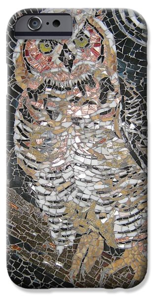 Moon Glass Art iPhone Cases - Owl iPhone Case by Monique Sarfity