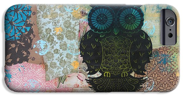 Lino Cut iPhone Cases - Owl of Style iPhone Case by Kyle Wood
