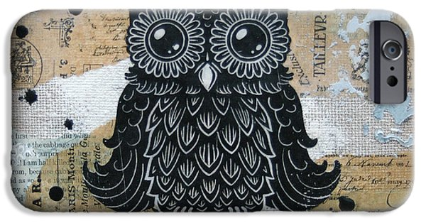 Lino Cut iPhone Cases - Owl on Burlap1 iPhone Case by Kyle Wood