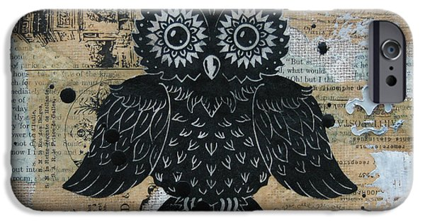 Lino Cut iPhone Cases - Owl on Burlap2 iPhone Case by Kyle Wood
