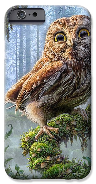 Fog Mist Mixed Media iPhone Cases - Owl Perch iPhone Case by Phil Jaeger