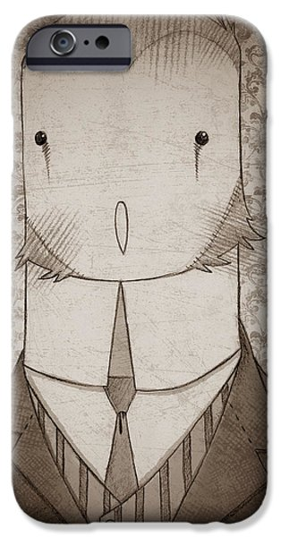 Old Barn Drawing iPhone Cases - Owl Portrait iPhone Case by Nate Call