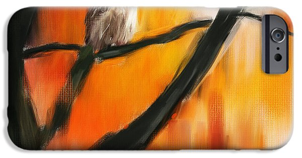 Trees At Sunset iPhone Cases - Owl Tree iPhone Case by Lourry Legarde