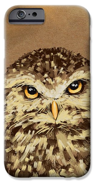 Abstract Digital Paintings iPhone Cases - Owl iPhone Case by Veronica Minozzi