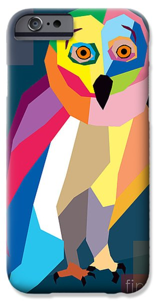 Animation iPhone Cases - Owl Wpap  iPhone Case by Mark Ashkenazi