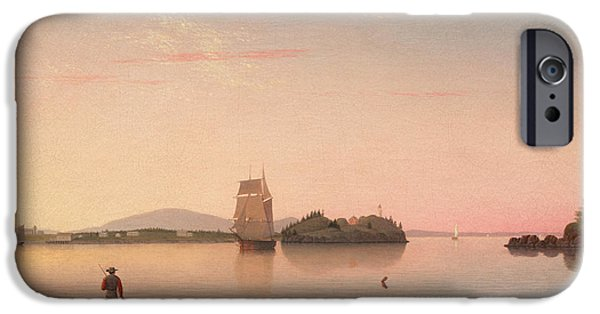 Penobscot Bay Paintings iPhone Cases - Owls Head Penobscot Bay Maine iPhone Case by Fitz Henry Lane