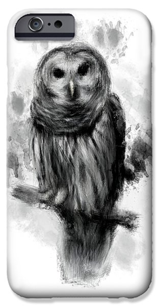 Ga iPhone Cases - Owls Portrait iPhone Case by Lourry Legarde