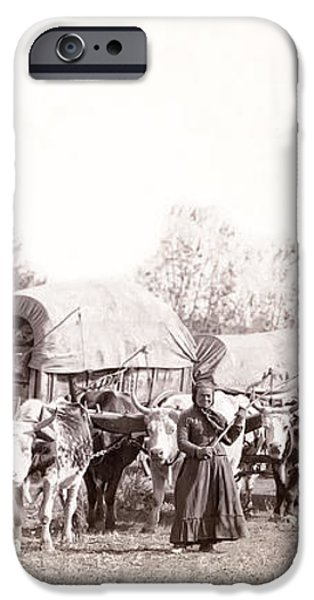OX-DRIVEN WAGON FREIGHT TRAIN c. 1887 iPhone Case by Daniel Hagerman
