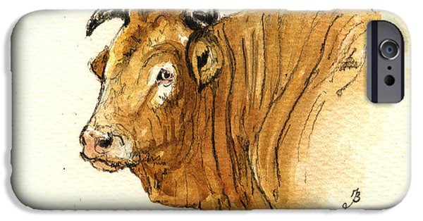 Nature Study Paintings iPhone Cases - Ox head painting study iPhone Case by Juan  Bosco