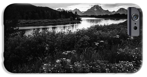 Overcast Day iPhone Cases - Oxbow Bend in Black and White iPhone Case by Vishwanath Bhat