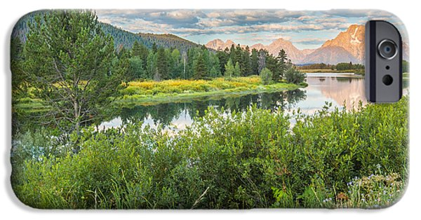 Panoramic iPhone Cases - Oxbow Bend Summer Sunrise - Grand Teton National Park iPhone Case by Andres Leon