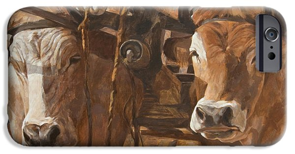 Garden Scene Paintings iPhone Cases - Oxen With Yoke iPhone Case by Anke Classen