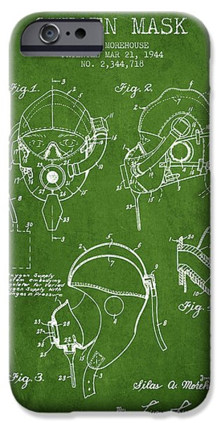 Aviator iPhone Cases - Oxygen Mask Patent from 1944 - Green iPhone Case by Aged Pixel
