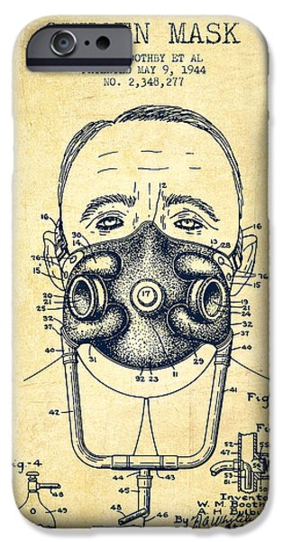 Aviator iPhone Cases - Oxygen Mask Patent from 1944 - Two - Vintage iPhone Case by Aged Pixel