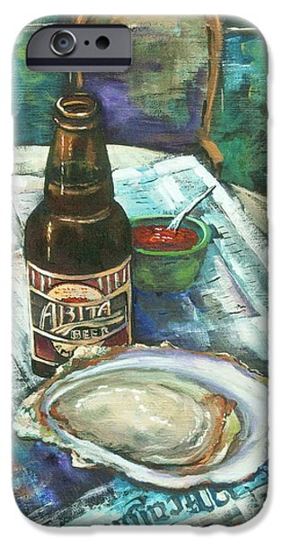 French Quarter Paintings iPhone Cases - Oyster and Amber iPhone Case by Dianne Parks