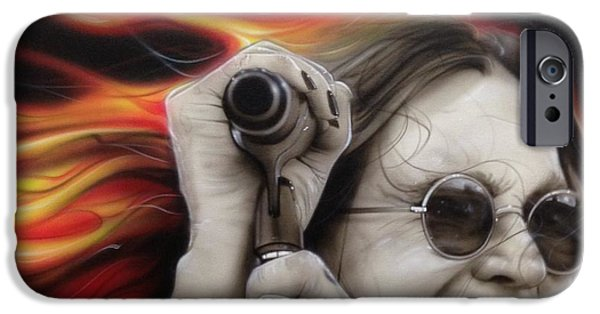 Musician Art iPhone Cases - Ozzys Fire iPhone Case by Christian Chapman Art