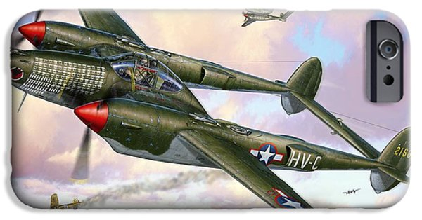 Huskies Digital Art iPhone Cases - P-38F Lightning Sicilian Summer iPhone Case by Stu Shepherd