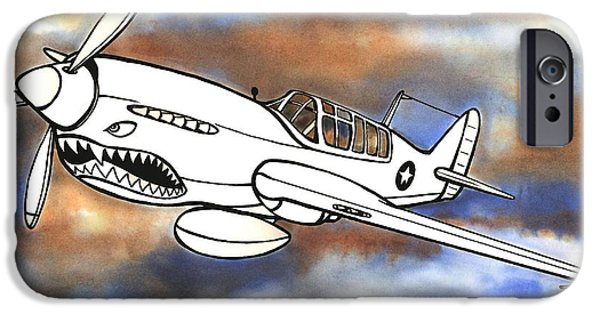 Scott Nelson Mixed Media iPhone Cases - P-40 Warhawk 1 iPhone Case by Scott Nelson