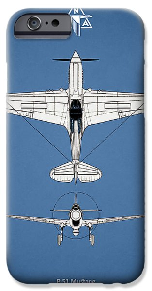 P-51 Mustang iPhone Cases - P-51 Mustang iPhone Case by Mark Rogan