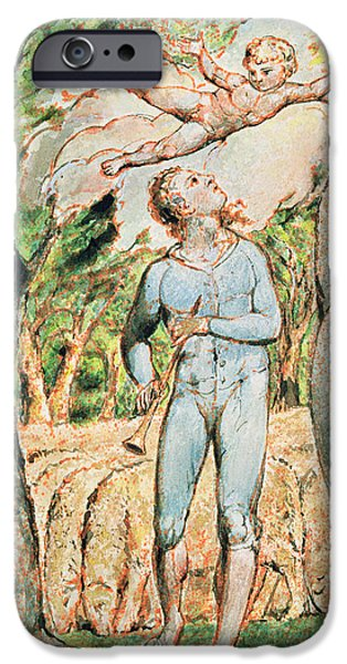 William Blake Drawings iPhone Cases - P.124-1950.ptl Frontispiece To Songs iPhone Case by William Blake