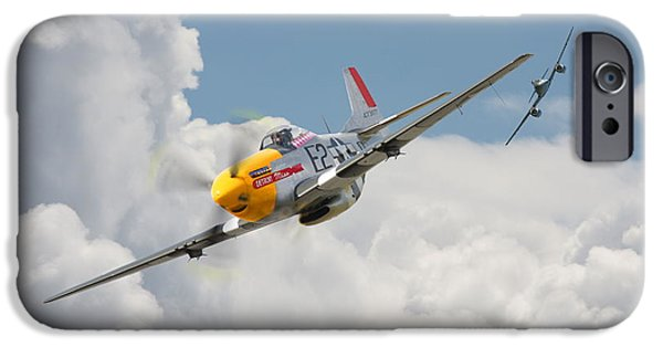 Classic Aircraft iPhone Cases - P51 Mustang and Me 262 iPhone Case by Pat Speirs