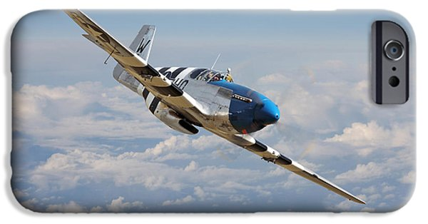 Classic Aircraft iPhone Cases - P51 Mustang - Symphony in Blue iPhone Case by Pat Speirs